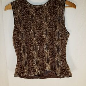 Papell Boutique Evening Blouse Top Silk brown Smal
